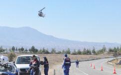 Kapanma sonrası jandarma ve polisten havadan trafik denetimi
