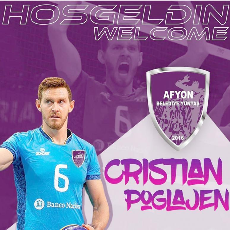 Afyon Belediye Yüntaş, smaçör Cristian Poglajen'i transfer etti