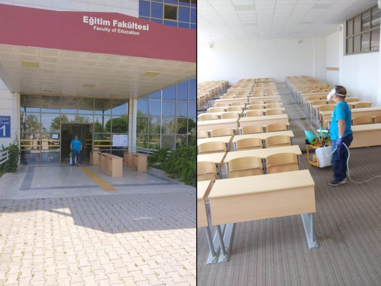 Sandıklı Belediyesi Fen Edebiyat Fakültesi'ni dezenfekte etti