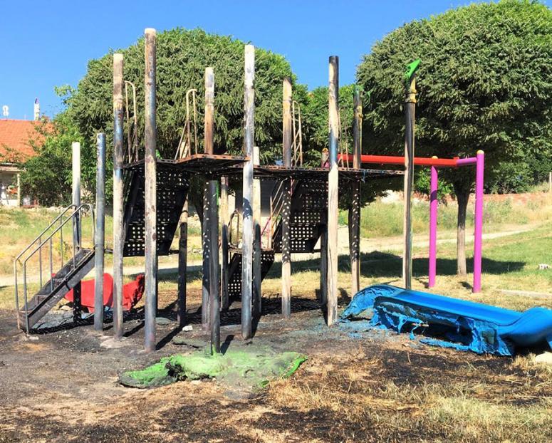 Uşak'ta çocuk parkındaki yangına ilişkin soruşturma başlatıldı