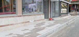 Dinar'da tek tip kaldırım çalışmaları başladı