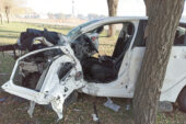 Ambulans helikopter, kaza yapan otomobil sürücüsü için havalandı