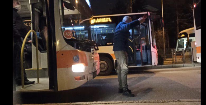 HES kodu kartına tanımlı olmayan yolcu otobüsün ilerlemesine engel oldu