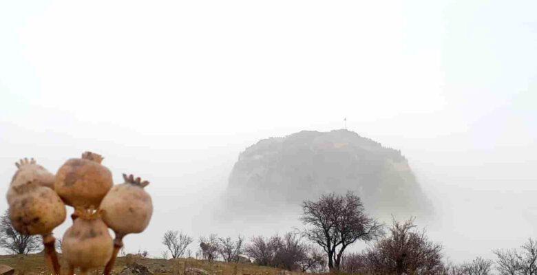Karahisar Kalesi sis altındaki görüntüsü ile büyüledi