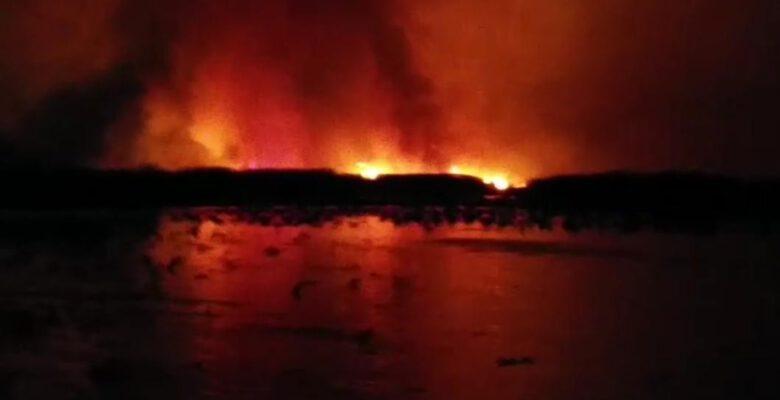 Eber Gölü bir kez daha alevlere teslim oldu