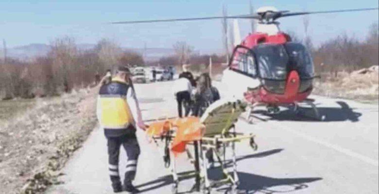 Hava ambulansı parmakları kangren olan yaşlı adam için havalandı