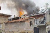 Çatıdaki yangın köylülere korku dolu anlar yaşattı