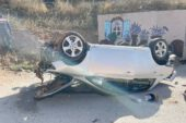 Otomobilin dik taklalar attığı korkunç kaza kamerada